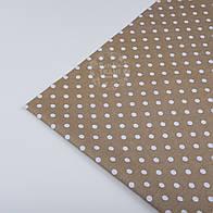 Отрез ткани №86 с белым  горошком среднего размера на коричневом фоне