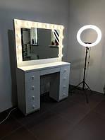 Стол для парикмахера, Гримерный комплект 1100х450х850 мм.Гримерное зеркало с подсветкой. Зеркало с лампочками.