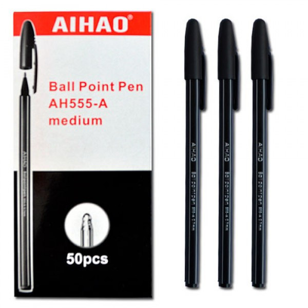 Ручка кулькова AIHAO полосата чорна  CS-555