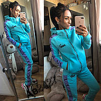 Спортивный женский теплый костюм Puma Пума ткань турецкая трехнитка на флисе цвет мята, фото 1