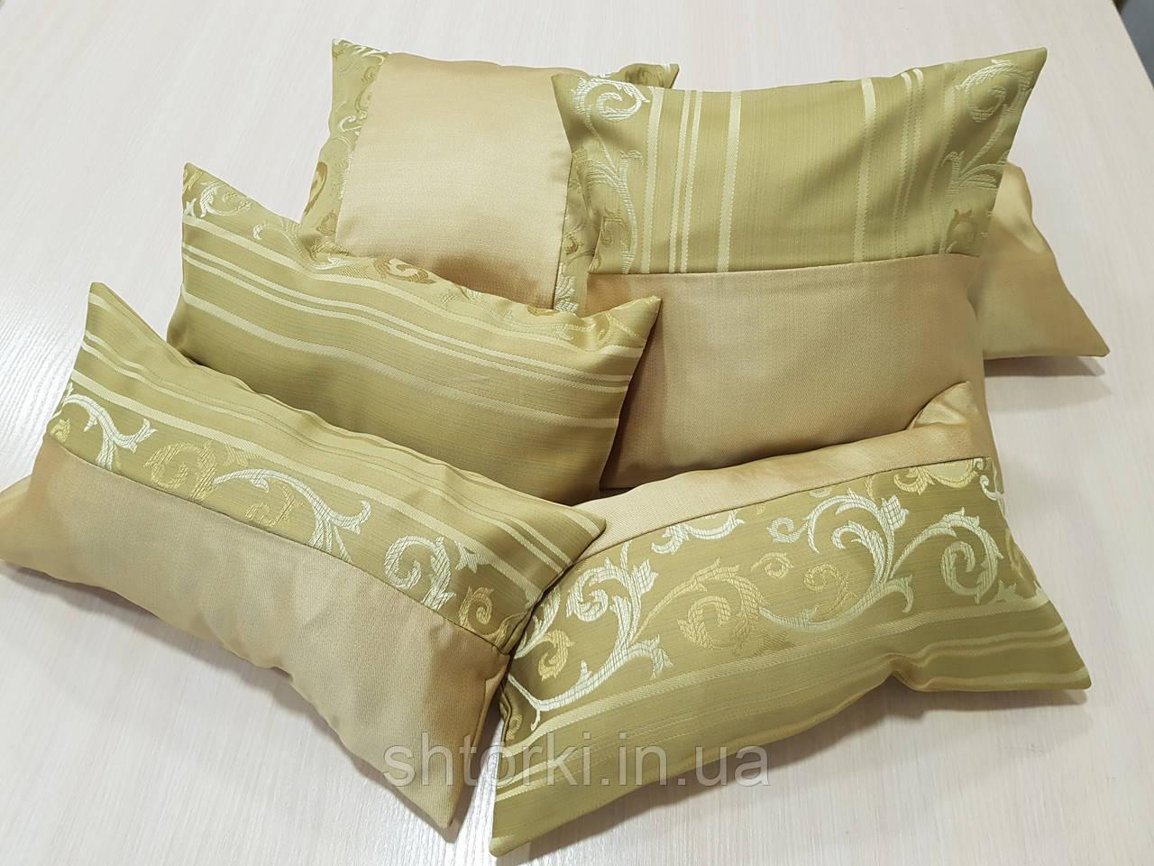 Комплект подушек Нэнси соломенные и фисташка полоски, 6шт