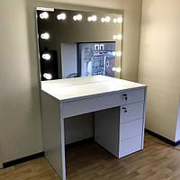 Макияжный столик, гримерный комплект 1200×570×900 мм. Стол визажиста. Гримерное зеркало с подсветкой.