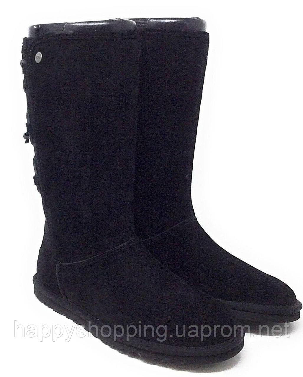 Женские оригинальные черные  замшевые сапоги UGG