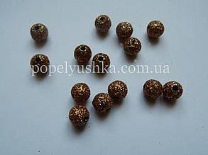 Намистини пластикові, круглі з блискітками золотистий 8 мм