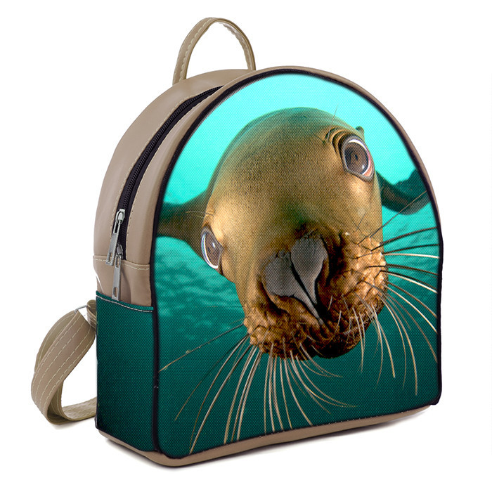 Рюкзак Moderika Arco бежевый с рисунком Морской Котик (78094)
