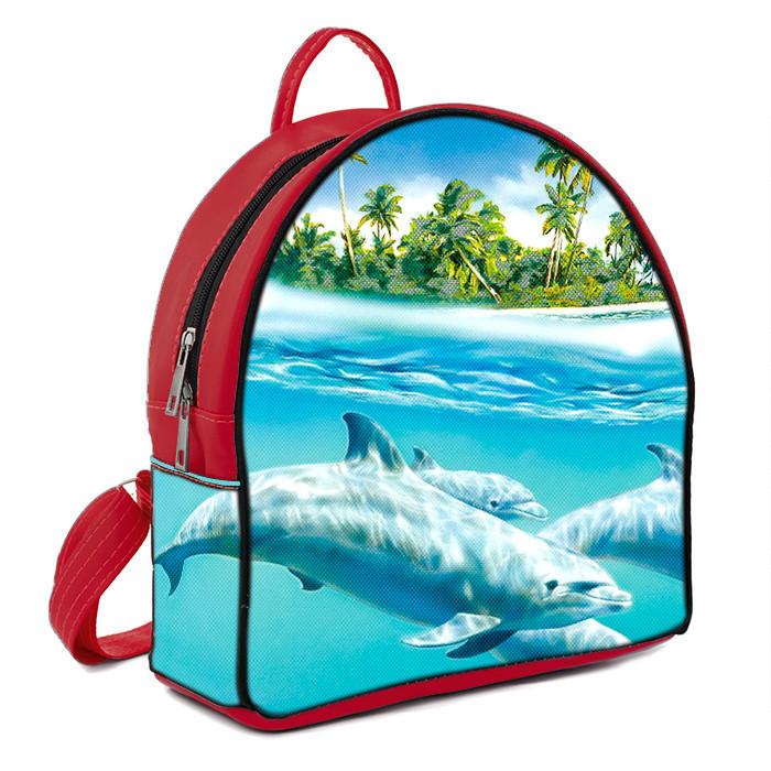 Рюкзак Moderika Arco красный с рисунком Дельфины (78102)
