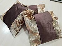 Комплект подушек шоколад и золото плюш коронки, 3шт 40х40