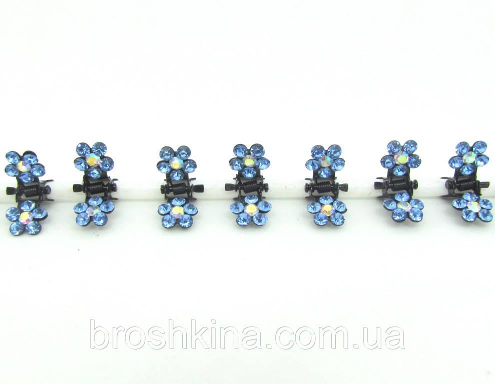 Металлический крабик цветок малый в голубых стразах 12 шт/уп