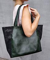 Сумка шоппер мини зеленый титан с черным глиттером