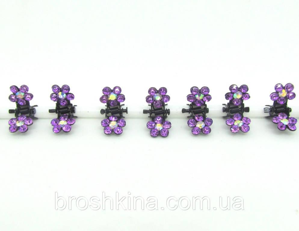 Металлический крабик цветок малый в сиреневых стразах 12 шт/уп