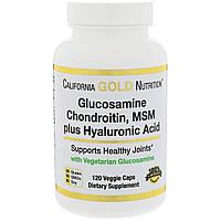 Глюкозамин, хондроитин, метилсульфонилметан плюс гиалуроновая кислота California Gold Nutrition,  120  капсул