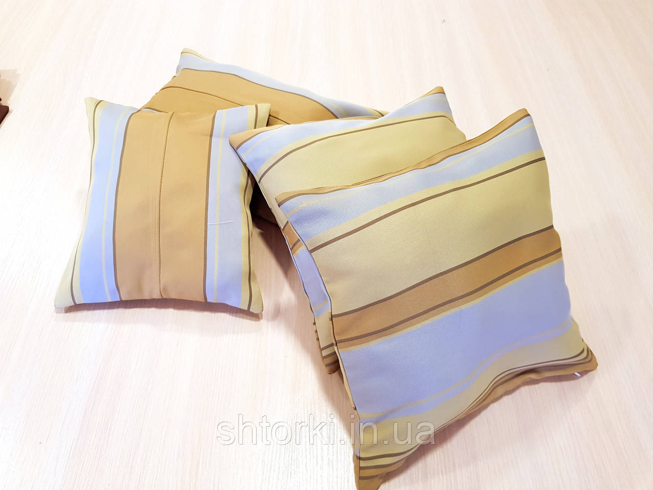 Комплект подушек Драпилюкс беж с голубым, 4шт
