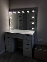 Гримерный стол с подсветкой, гримерный комплект 1200×450×900 мм. Зеркало с лампами. Гримерная станция.