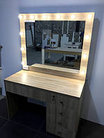 Туалетный стол, гримерный комплект 1200x570x800 мм. Зеркало с подсветкой. Стол для визажиста.Мебель под заказ.