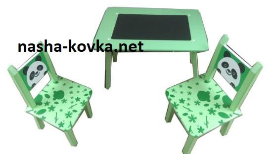 """Детский столик со стульчиками зеленый """"Мини Панда"""" С 025"""