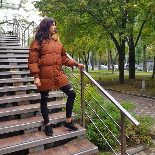 Куртка длинная карамель- 215-01-2