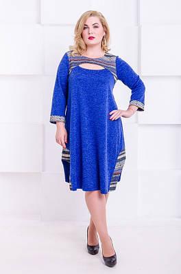 Стильное платье размер плюс Ксанти электрик орнамент (52-62)