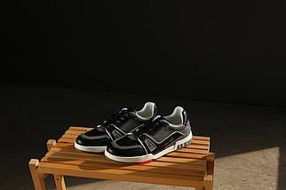 Кеды Louis Vuitton серые с черными вставками,кожаные, фото 3