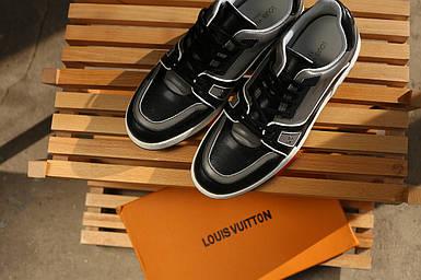 Кеды Louis Vuitton серые с черными вставками,кожаные