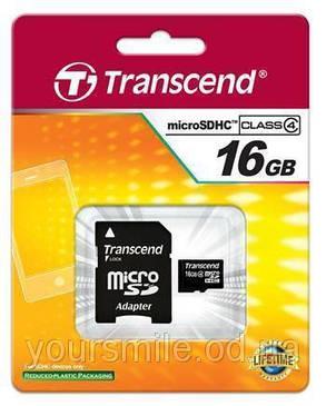Карта памяти 16Gb Transcend sd+adapter , фото 2