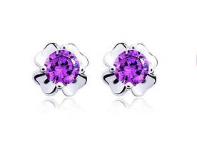 Серебряные серьги гвоздики Цветок с фиолетовым камнем стерлинговое серебро 925 проба