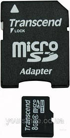 Карта памяти 8Gb Transcend sd+adapter