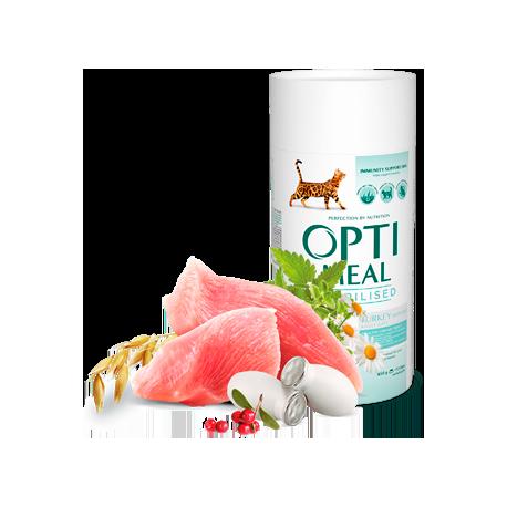 Полнорационный сухой корм Optimeal для стерилизованных кошек и кастрированных котов - индейка и овес, 650 г