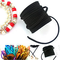 (4 метра) Замшевый шнур на бобине (ширина 3мм) Цвет - Черный (цена за бобину)