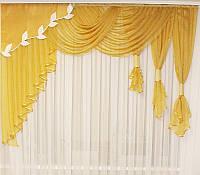Ламбрекен шифоновый 2,5м Albina4 (золото), фото 1