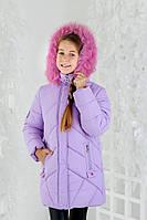 Зимняя детская куртка «Малинка» для девочки с натуральным мехом ТМ MANIFIK