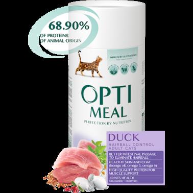 Полнорационный сухой корм Optimeal для взрослых кошек с эффектом выведения шерсти - утка, набор (1+1) 1.3 кг
