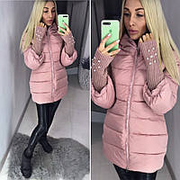 Теплый пуховик пальто с вязанными рукавами ткань плотная плащевка, холофайбер цвет розовый, фото 1