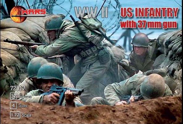 US INFANTRY WITH 37MM GUN WWII. Набор фигур в масштабе 1/72. MARS 72017