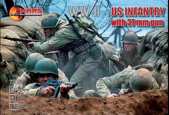 US INFANTRY WITH 37MM GUN WWII. Набор фигур в масштабе 1/72. MARS 72017, фото 2