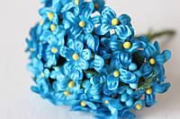 Веточки незабудки 6 шт/уп. голубого цвета с листиком и тычинками, фото 1