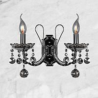Тёмно-серебряная хрустальная брана 2 свечи