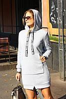 Теплое платье худи с капюшоном Free Keeps серое, фото 1