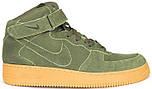 Мужские зимние кроссовки Nike Air Force High Winter (зимние Найк Аир Форс в стиле) с мехом зеленые