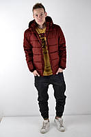 Теплый Мужской зимний пуховик/куртка, бордовая