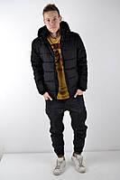 Зимняя теплая мужская пуховик/куртка, черная