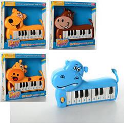 Пианино 889-2-4-5-6 (216шт) 19-14-3см, в виде животного, 4 вида,муз,на бат-ке, в кор-ке, 20-19-3,5см