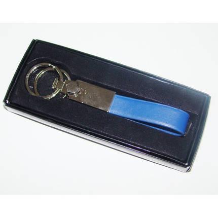 Брелок металлический с кожзам вставкой 9232704-CRA, синий, фото 2