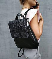 Рюкзак с клапаном черный титан с черным глиттером , фото 1