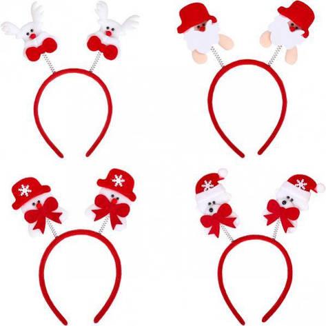 Ободок новогодний с пружинками «Мишка/Олень» СХ-6, фото 2