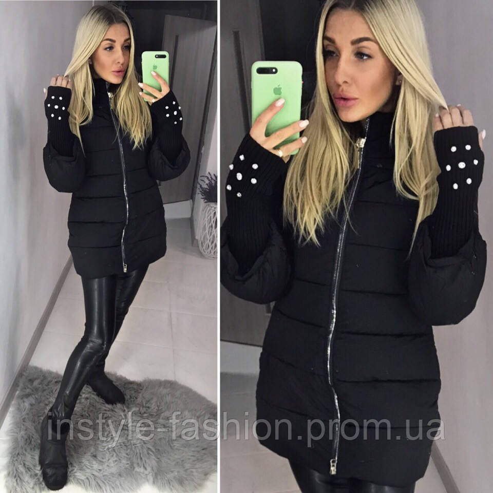 Теплый пуховик пальто с вязанными рукавами ткань плотная плащевка, холофайбер цвет черный