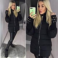 Теплый пуховик пальто с вязанными рукавами ткань плотная плащевка, холофайбер цвет черный, фото 1