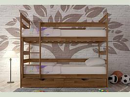 Ліжко двоярусне з шухлядами Ясна (горіх)