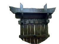 Настенная вешалка под старину из натурального дерева с полкой под головные уборы
