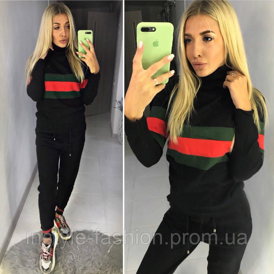 Спортивный женский костюм копия Гуччи Gucci ткань вязка производство Китай черный
