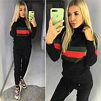 Спортивный женский костюм копия Гуччи Gucci ткань вязка производство Китай черный, фото 1